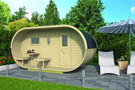 Oval sauna onbehandeld vuren 400x240cm