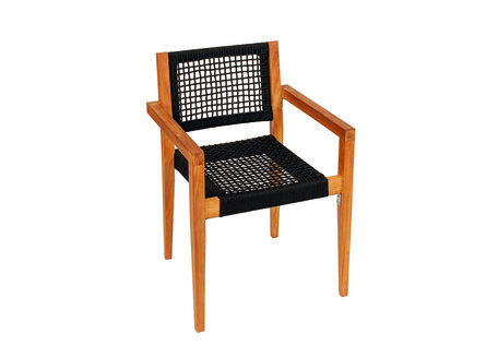Stapelbare teak stoel Toledo zitting/rugl. natuurlijke vezels