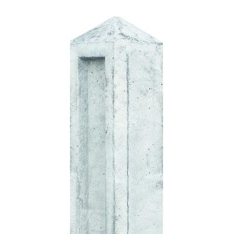Tuinhek - borderpaal grijs, diamantkop 10x10x104cm t.b.v 1 gladde of 1 brede motiefplaat