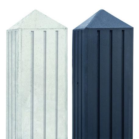 Betonpaal met 3 groeven en vellingkant wit/grijs 10x10x280cm