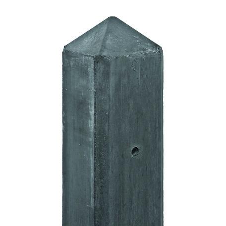 Betonpaal antraciet, diamantkop 10x10x280cm eindpaal t.b.v 2 motiefplaten
