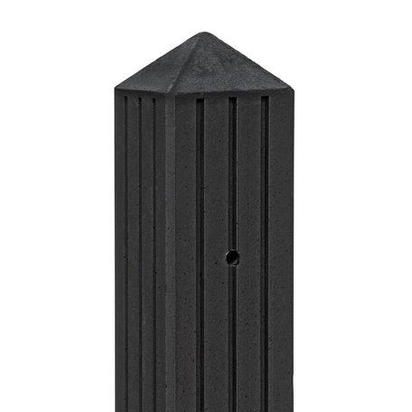 Betonpaal met 3 groeven en vellingkant Gecoat 10x10x280cm