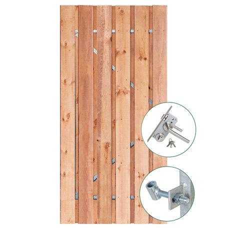 Tuindeur Privacy Red Class Wood met rvs slot 195x100cm