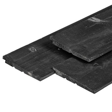 65 planken NE vuren rabatdelen zwart gespoten 1.4/2.8x19.5x420cm IJsselrabat