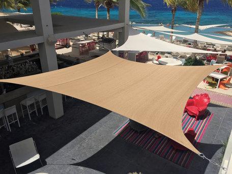 Zonnezeil vierkant zandbeige 420cm