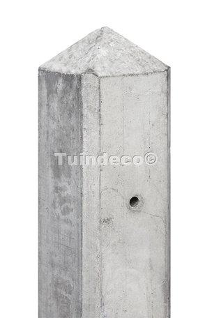 Betonpaal grijs, diamantkop 10x10x280cm eindpaal t.b.v 2 motiefplaten