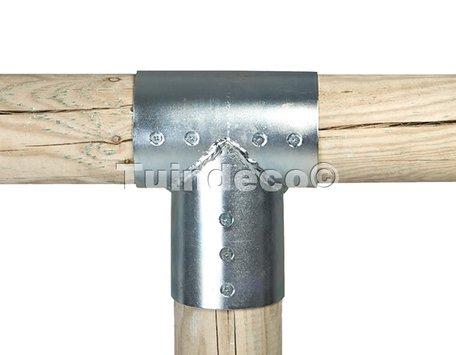 Gegalvaniseerde verbindingen voor ronde palen Ø10cm 3-weg