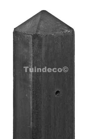 Betonpaal antraciet, diamantkop 10x10x280cm T-model (3-sp), glad