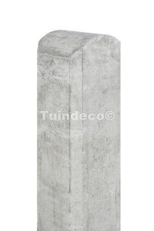 Betonpaal met halfronde kop en vellingkant wit/grijs 10x10x280cm
