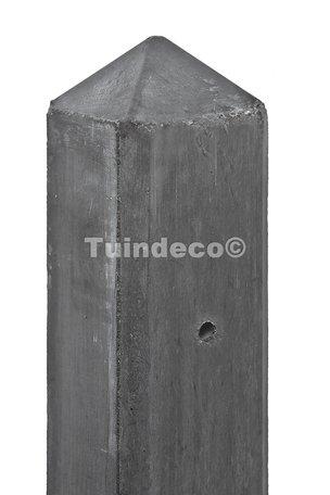 Slimline betonpaal antraciet met diamantkop en vellingkant EIND-model 7.5x7.5x280cm