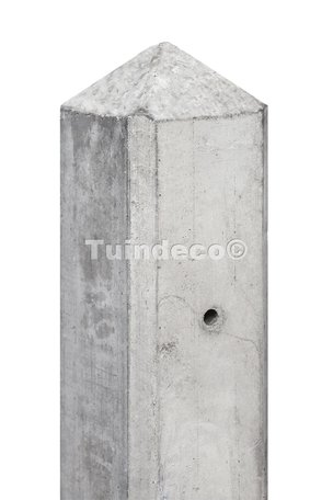 Betonpaal wit/grijs, diamantkop 10x10x280cm glad scherm 150cm