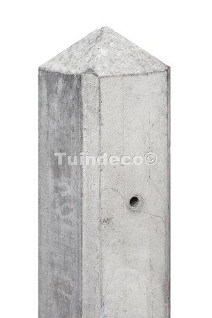 Betonpaal grijs diamantkop 10x10x280cm m/kabeldoorvoer, glad scherm 150cm