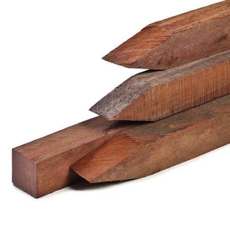 Hardhouten paal 4.0x4.0x150cm met punt, fijnbezaagd