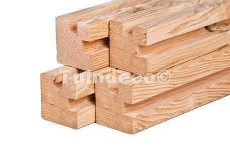 Lariks/douglas palen stapelbouw 11.5x11.5x300cm hoekpaal geschaafd